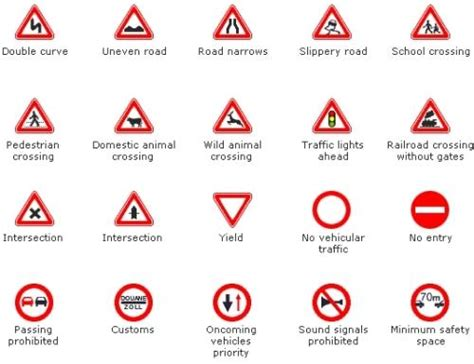 printable european road signs languageeuphoria vocabulary building in english ii