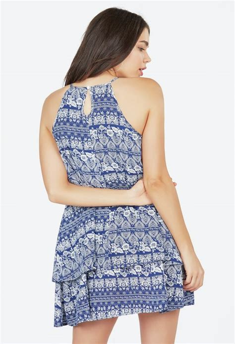 swing style kleidung relaxed layered swing dress kleidung in blue multi