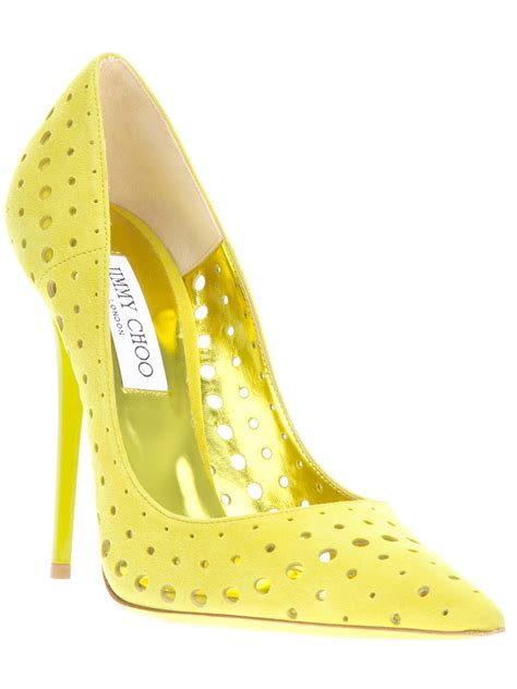 jimmy choo perforated pumps in yellow lyst
