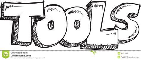 doodle sketch vector free doodle word tools vector stock vector image 51781591