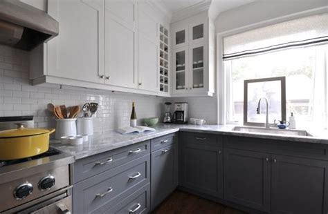 two toned grey kitchen cabinets light uppers grey base cabinets my house