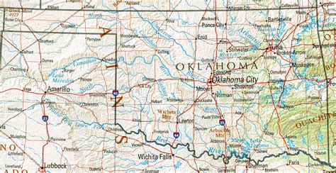 road map of oklahoma and texas oklahoma geography and maps