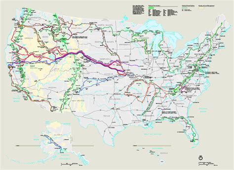 map us national park system national trails system map united states mappery