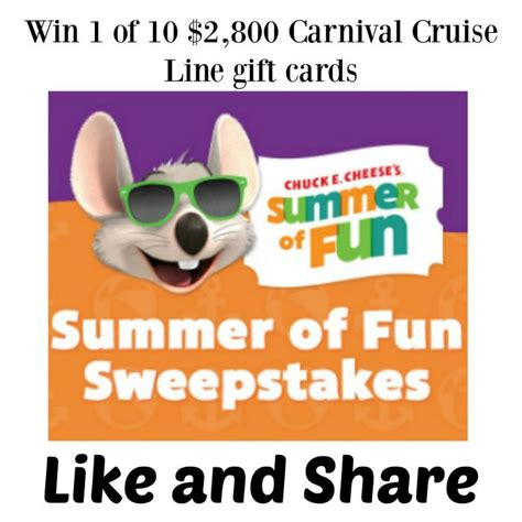 Free Carnival Cruise Gift Card - chuck e cheese s summer of fun sweepstakes win 1 of 10 2 800 carnival cruise line