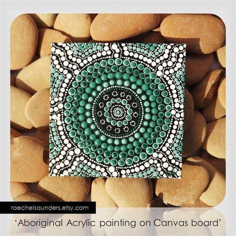 acrylic paint on canvas board mountain dot painting aboriginal small original