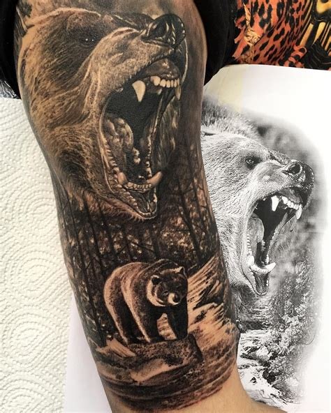 nature tattoo sleeve grizzly half sleeve nature tattoos