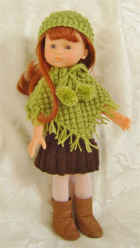 Set Knit 13 lc03 blackberry poncho sets for 13 and 14inch dolls pdf pattern for knitting and