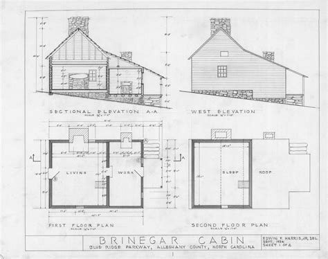 cross section west elevation floor plans brinegar house