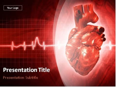 Download Cardiology Human Heart And Cardiogram Powerpoint Template Cardiac Powerpoint Template