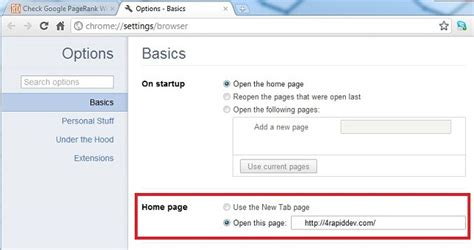 how to set home page chrome how to set the home page in