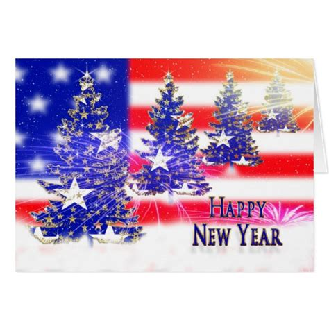 new year flag happy new year patriotic flag trees card zazzle
