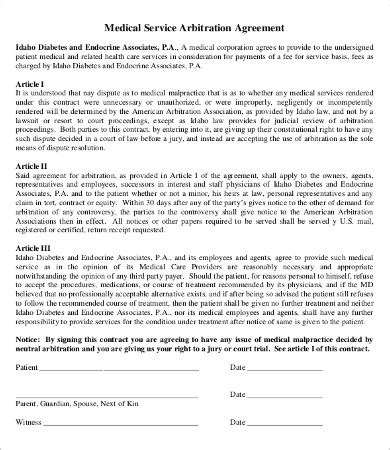 arbitration agreement template 7 free pdf documents