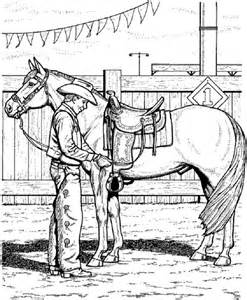 coloring pages of saddles coloring page of cowboy adjusting saddle coloring home