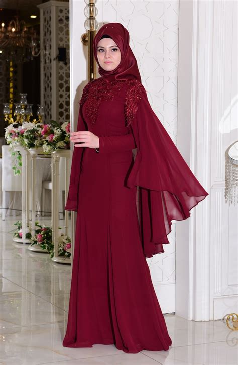 claret red islamic clothing evening dress