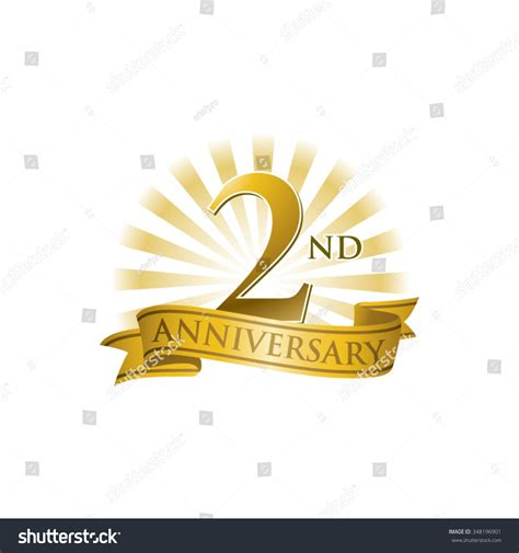 2nd anniversary ribbon logo with golden rays of light