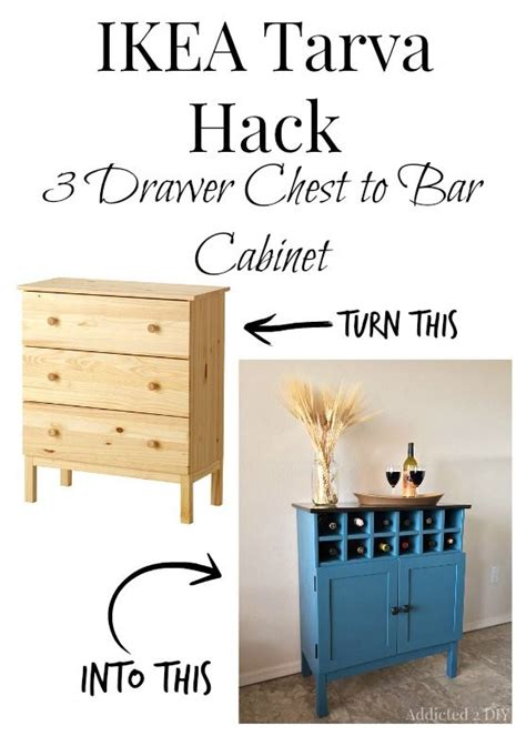 ikea hack bar ikea tarva hack 3 drawer chest to bar cabinet furniture