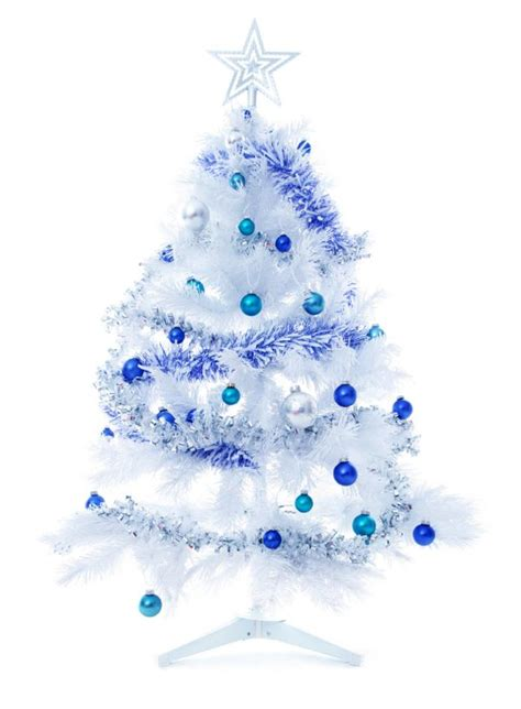 white christmas tree with blue decor images