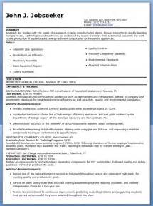 Assembly Resume by Production Line Worker Resume Exles Resume Downloads