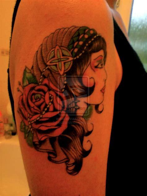 gypsy girl tattoo design on bicep