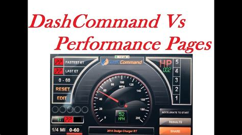 performance pages 0 60 vs dashcommand app iphone