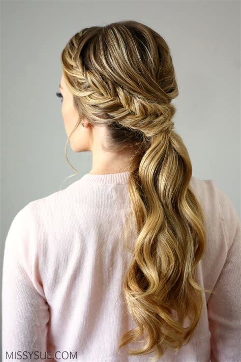 fishtails with braided hair fishtail embellished ponytail braided hairstyles
