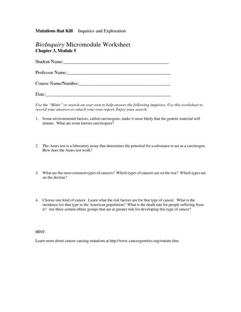 Dna Mutations Practice Worksheet Answers by 15 Best Images Of Genetic Mutation Worksheet Answer Key
