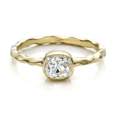 Handmade Gold Engagement Rings - custom hammered gold engagement ring 100300
