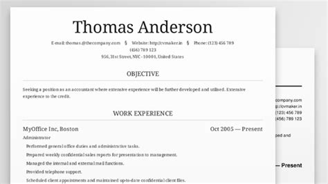 Professional Looking Resume Template by Cv Maker Creates Beautiful Professional Looking Resumes