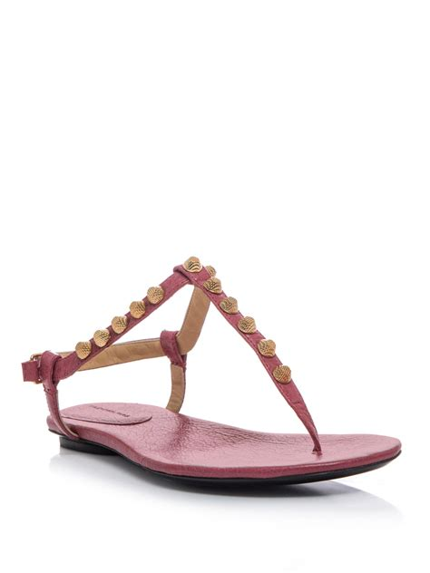 lyst balenciaga arena studded flat sandals in pink