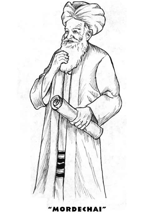 Mordechai - Purim Coloring Pages - Jewish Kids