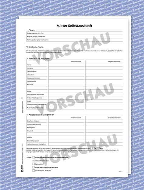 Mieterselbstauskunft Vorlage Pdf by Selbstauskunft Muster Formular Downloaden Zweckform