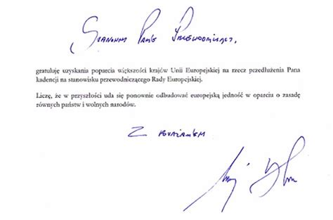 Support Letter For Dla President Congratulates Tusk In Letter National