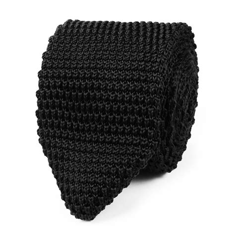 black knit tie black pointed knitted tie knit ties knits otaa