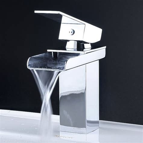 Contemporary Waterfall Bathroom Faucet In Chrome Finish Modern Bathroom Faucet