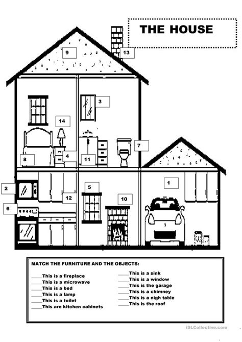 Printable House Worksheet   all worksheets 187 esl house vocabulary worksheets
