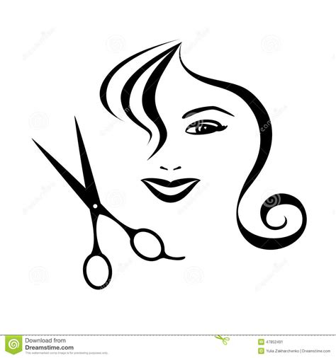 woman and scissors design for hair salon stock