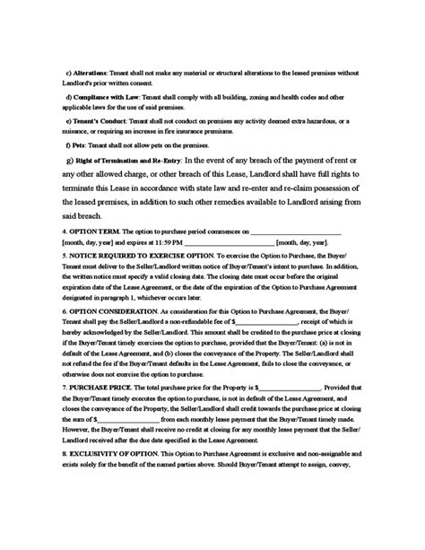 Rent To Own Agreement Template Free Download Lease To Own Template Free