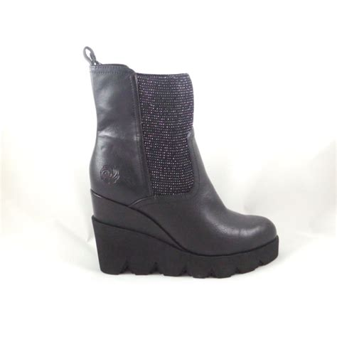 black faux leather and textile wedge ankle boot from