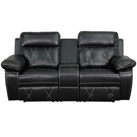 Black Leather Theater Recliner by Reel Comfort Series 2 Seat Reclining Black Leather Theater Seating Unit With Cup