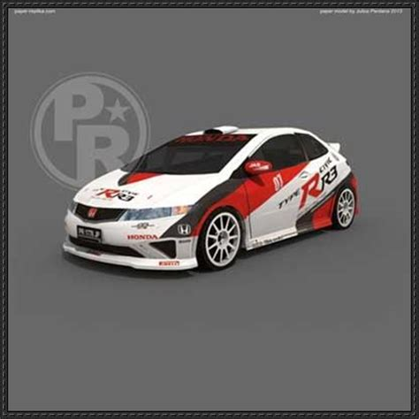 Honda Papercraft - honda civic type r r3 paper car free paper model