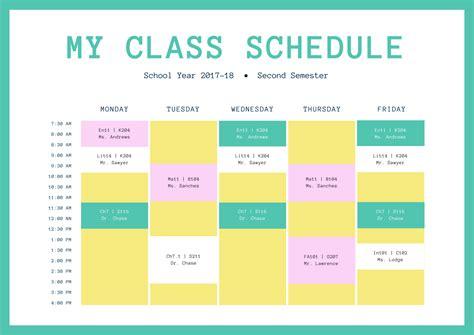 design schedule template free class schedules design a custom class