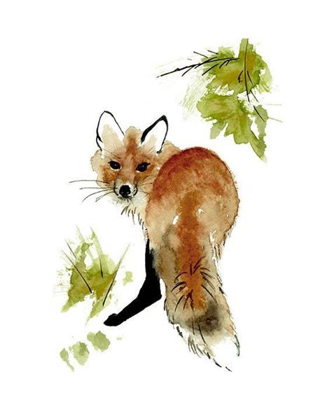 watercolour paintings of a red fox bing images