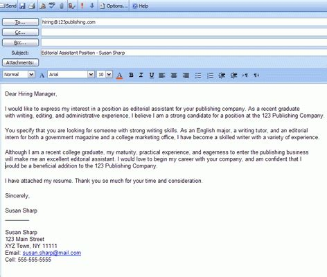 how to write a mail while sending resume sle application email message application in