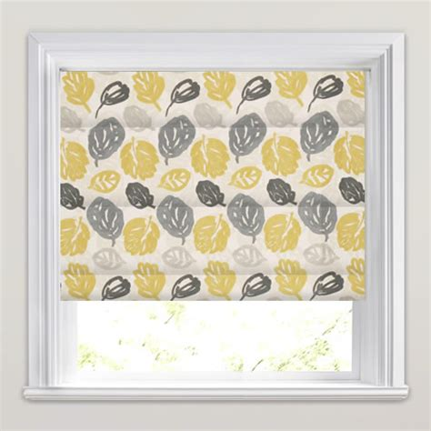 leaf patterned roman blinds yellow grey cream white modern leaves patterned roman