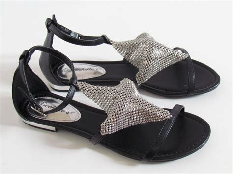 dressy black flat shoes new metallic metal mesh ankle t gladiator dressy