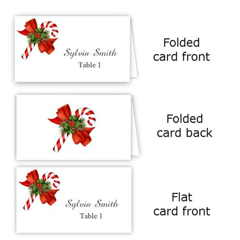 candy cane folded table tent amp flat place card templates
