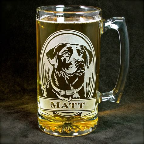 design beer mug 1 personalized labrador retriever beer mug etched glass