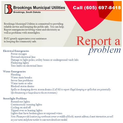 Report A Problem by Report A Problem 171 Brookings Municipal Utilities