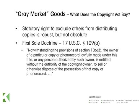 section 106 copyright act first sale doctrine gray market goods