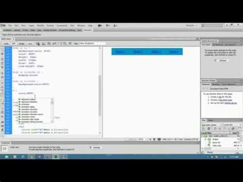 Membuat Menu Dropdown Menggunakan Dreamweaver | belajar membuat menu dropdown menggunakan adobe
